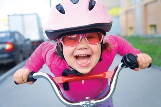 Little Girl on Bike - Pink
